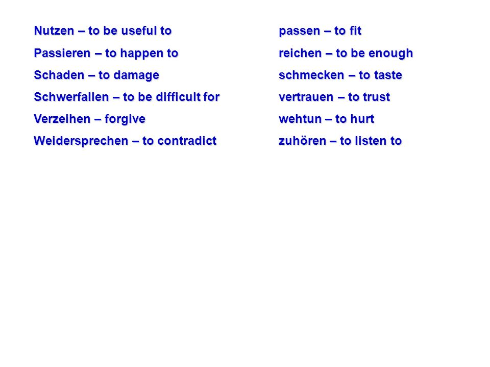 When using these verbs with pronouns, you must always use the dative case.