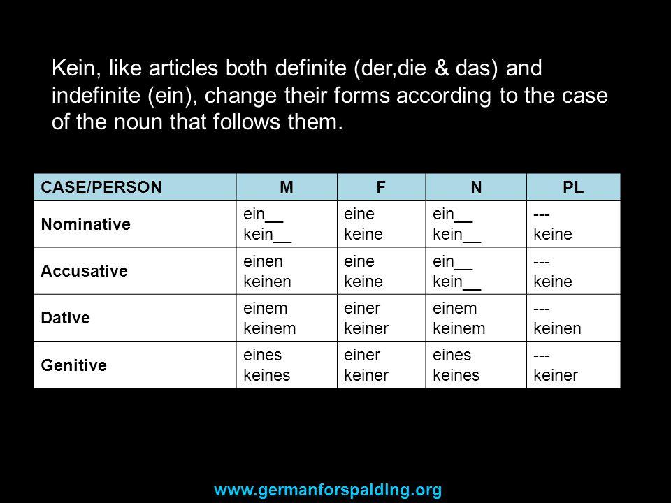 CASE/PERSONMFNPL Nominative ein__ kein__ eine keine ein__ kein__ --- keine Accusative einen keinen eine keine ein__ kein__ --- keine Dative einem kein