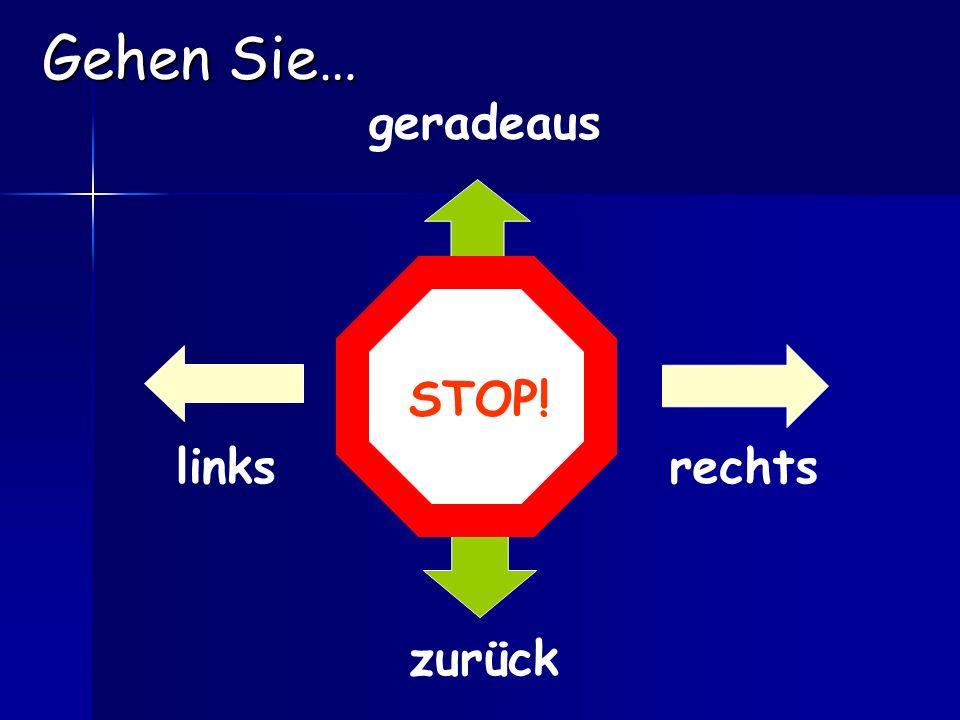 1.Gehen Sie die (name of street) Straße entlang. = Go down the (name of street).