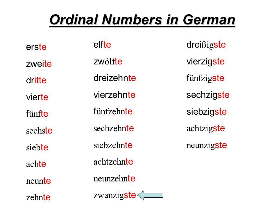 Ordinal Numbers in German erste zweite dritte vierte f ünf te sechs te sieb te ach te neun te zehn te elfte zw ölf te dreizehnte vierzehnte f ünfzehn