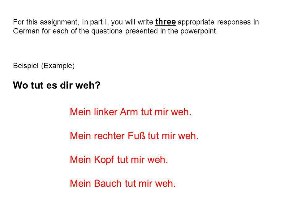 For this assignment, In part I, you will write three appropriate responses in German for each of the questions presented in the powerpoint.