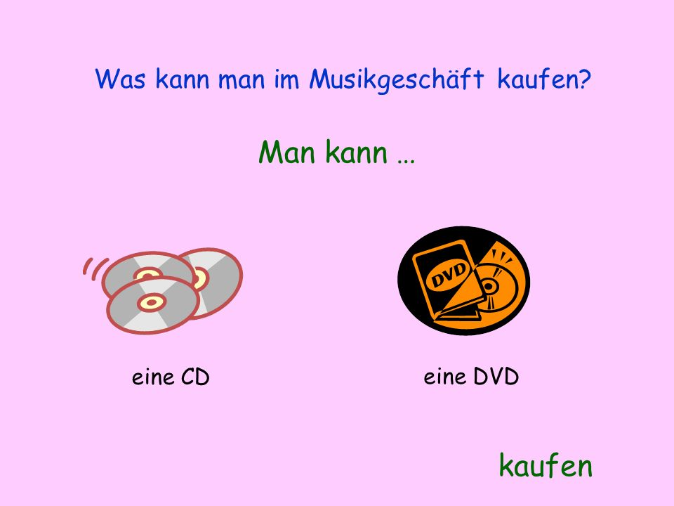 Was kann man im Musikgeschäft kaufen? Man kann … kaufen eine CD eine DVD
