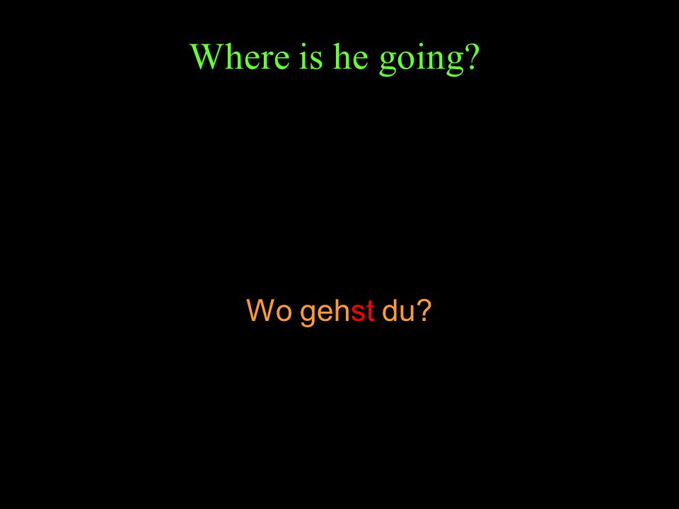Where is he going? Wo gehst du?