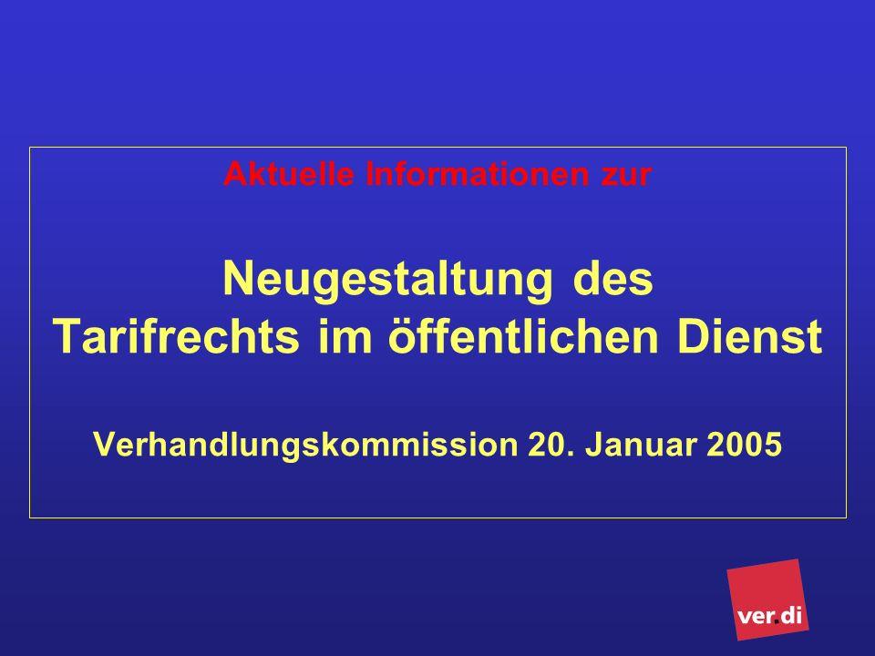 Aktuelle Informationen zur Neugestaltung des Tarifrechts im öffentlichen Dienst Verhandlungskommission 20.
