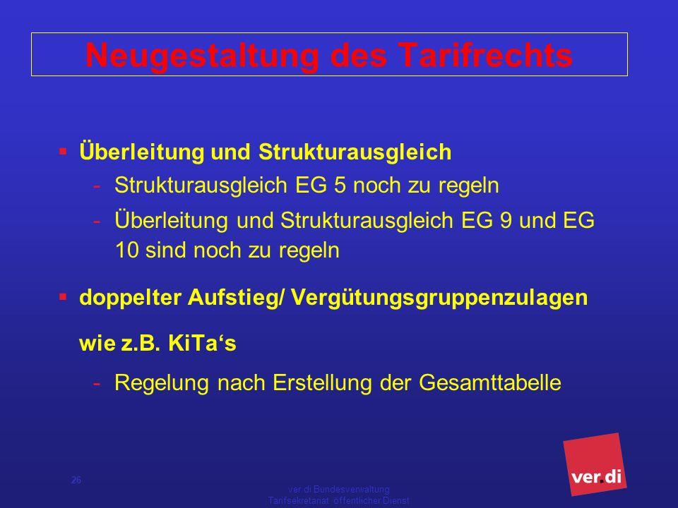 ver.di Bundesverwaltung Tarifsekretariat öffentlicher Dienst 26 Neugestaltung des Tarifrechts Überleitung und Strukturausgleich -Strukturausgleich EG 5 noch zu regeln -Überleitung und Strukturausgleich EG 9 und EG 10 sind noch zu regeln doppelter Aufstieg/ Vergütungsgruppenzulagen wie z.B.