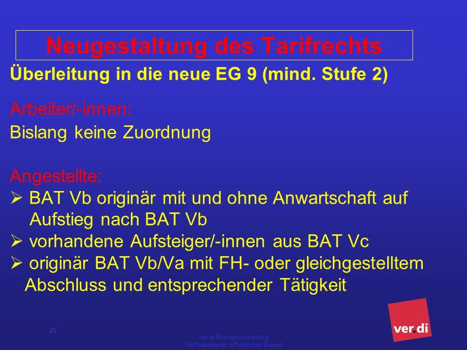 ver.di Bundesverwaltung Tarifsekretariat öffentlicher Dienst 25 Überleitung in die neue EG 9 (mind.