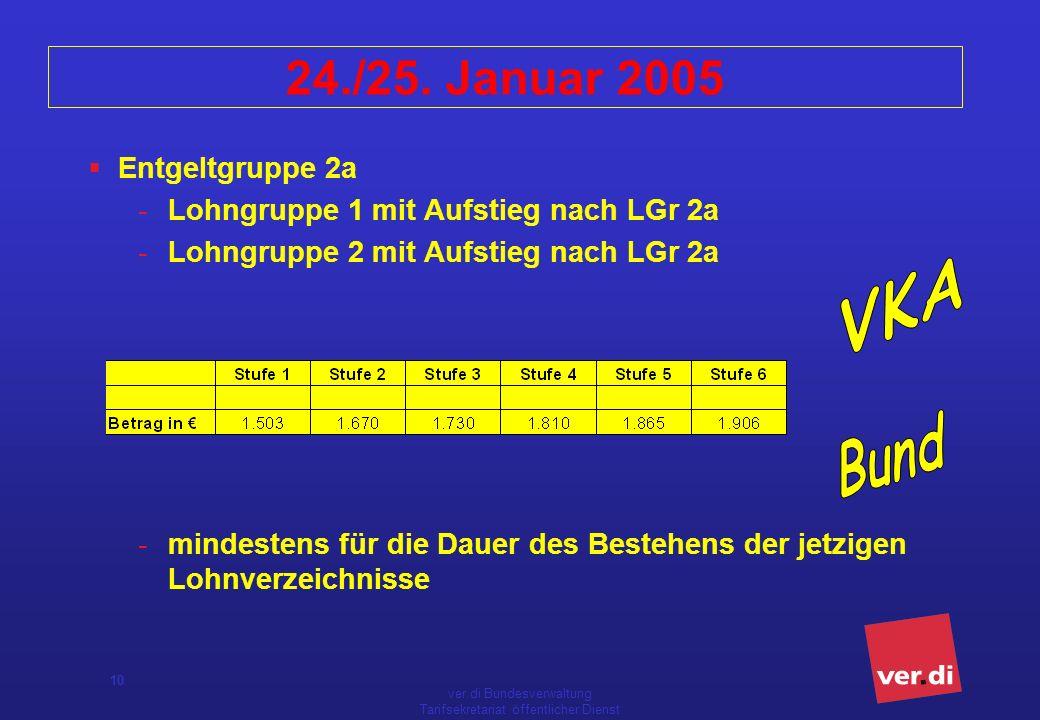 ver.di Bundesverwaltung Tarifsekretariat öffentlicher Dienst 10 24./25. Januar 2005 Entgeltgruppe 2a -Lohngruppe 1 mit Aufstieg nach LGr 2a -Lohngrupp