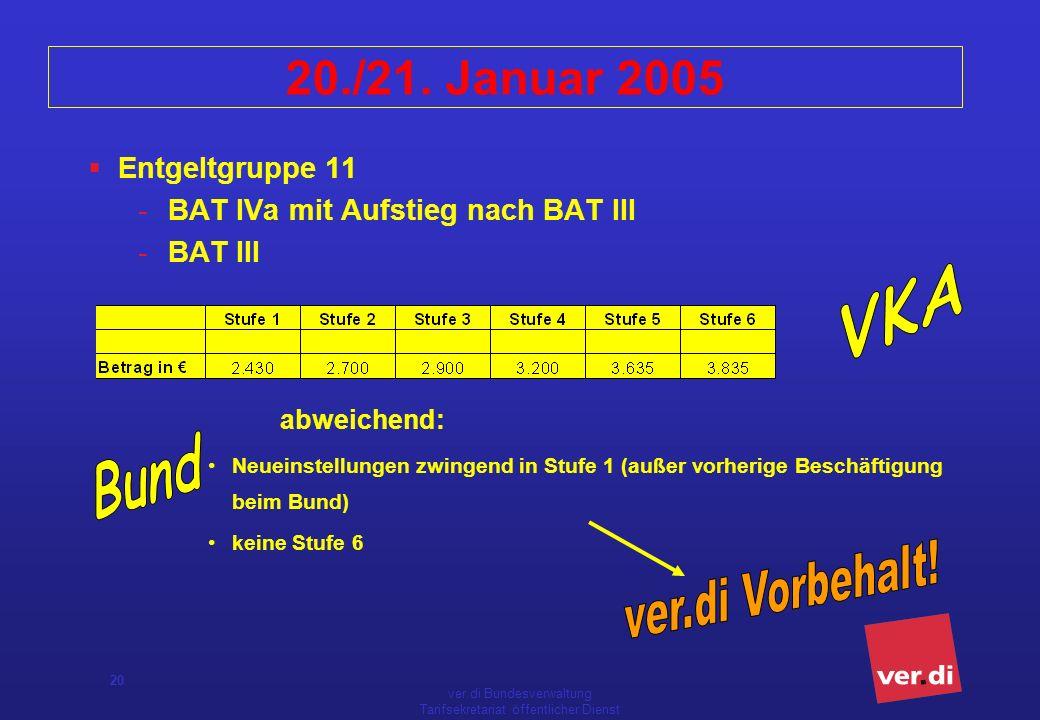ver.di Bundesverwaltung Tarifsekretariat öffentlicher Dienst 20 20./21. Januar 2005 Entgeltgruppe 11 -BAT IVa mit Aufstieg nach BAT III -BAT III abwei