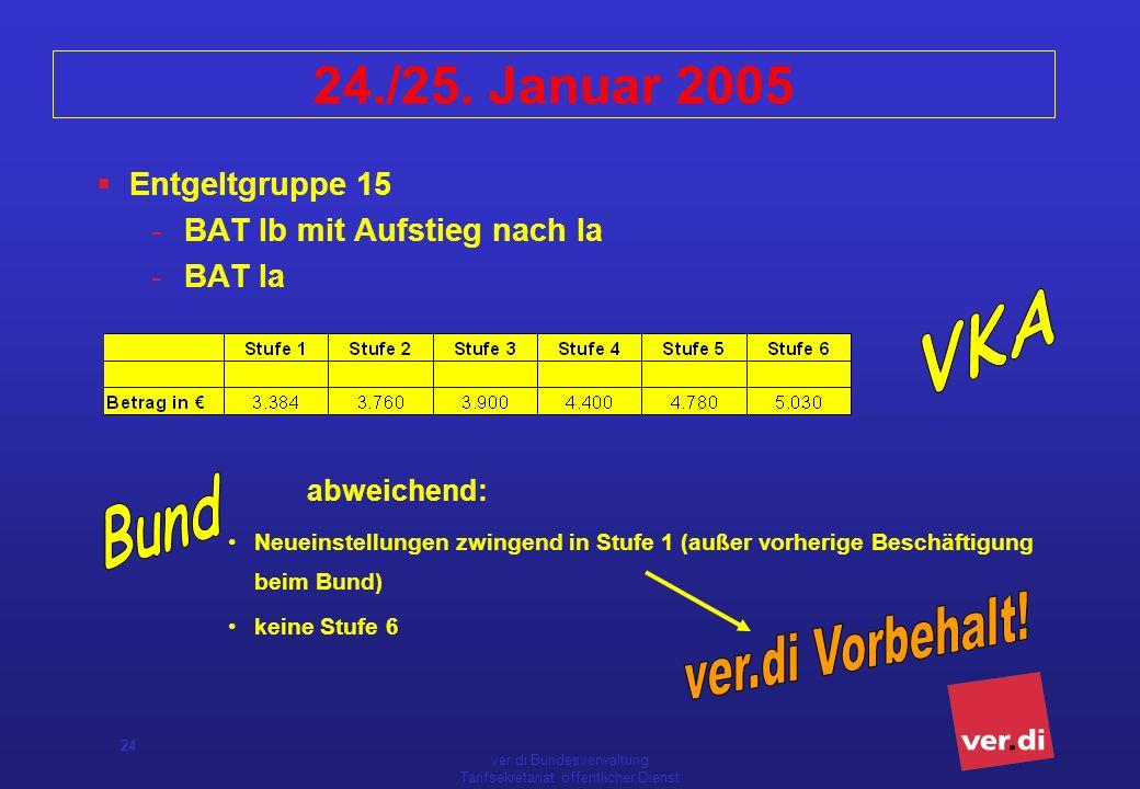 ver.di Bundesverwaltung Tarifsekretariat öffentlicher Dienst 24 24./25. Januar 2005 Entgeltgruppe 15 -BAT Ib mit Aufstieg nach Ia -BAT Ia abweichend: