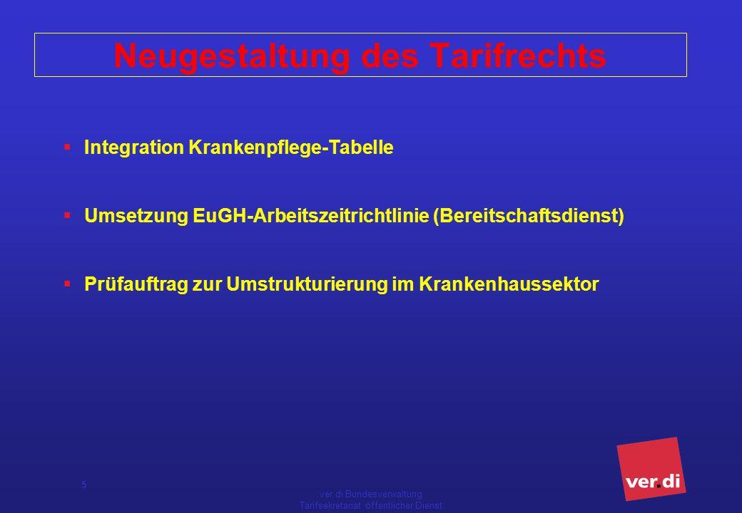 ver.di Bundesverwaltung Tarifsekretariat öffentlicher Dienst 5 Neugestaltung des Tarifrechts Integration Krankenpflege-Tabelle Umsetzung EuGH-Arbeitsz