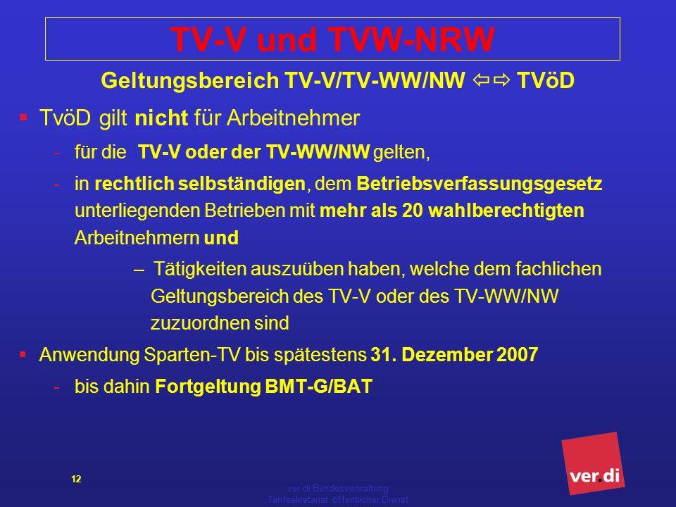 ver.di Bundesverwaltung Tarifsekretariat öffentlicher Dienst 12 TV-V und TVW-NRW Geltungsbereich TV-V/TV-WW/NW TVöD TvöD gilt nicht für Arbeitnehmer -