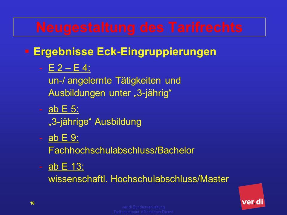 ver.di Bundesverwaltung Tarifsekretariat öffentlicher Dienst 16 Ergebnisse Eck-Eingruppierungen -E 2 – E 4: un-/ angelernte Tätigkeiten und Ausbildung