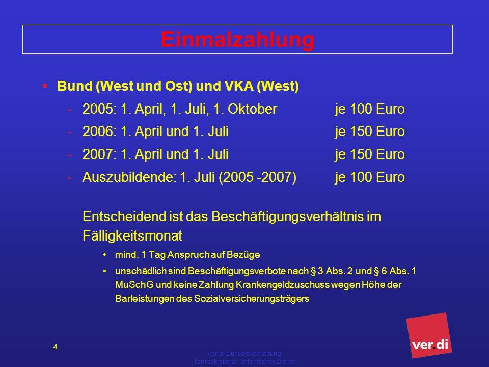 ver.di Bundesverwaltung Tarifsekretariat öffentlicher Dienst 4 Einmalzahlung Bund (West und Ost) und VKA (West) -2005: 1. April, 1. Juli, 1. Oktober j