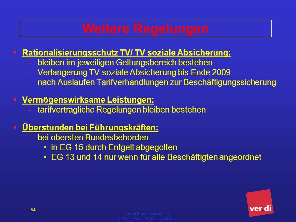 ver.di Bundesverwaltung Tarifsekretariat öffentlicher Dienst 54 Weitere Regelungen Rationalisierungsschutz TV/ TV soziale Absicherung: -bleiben im jew