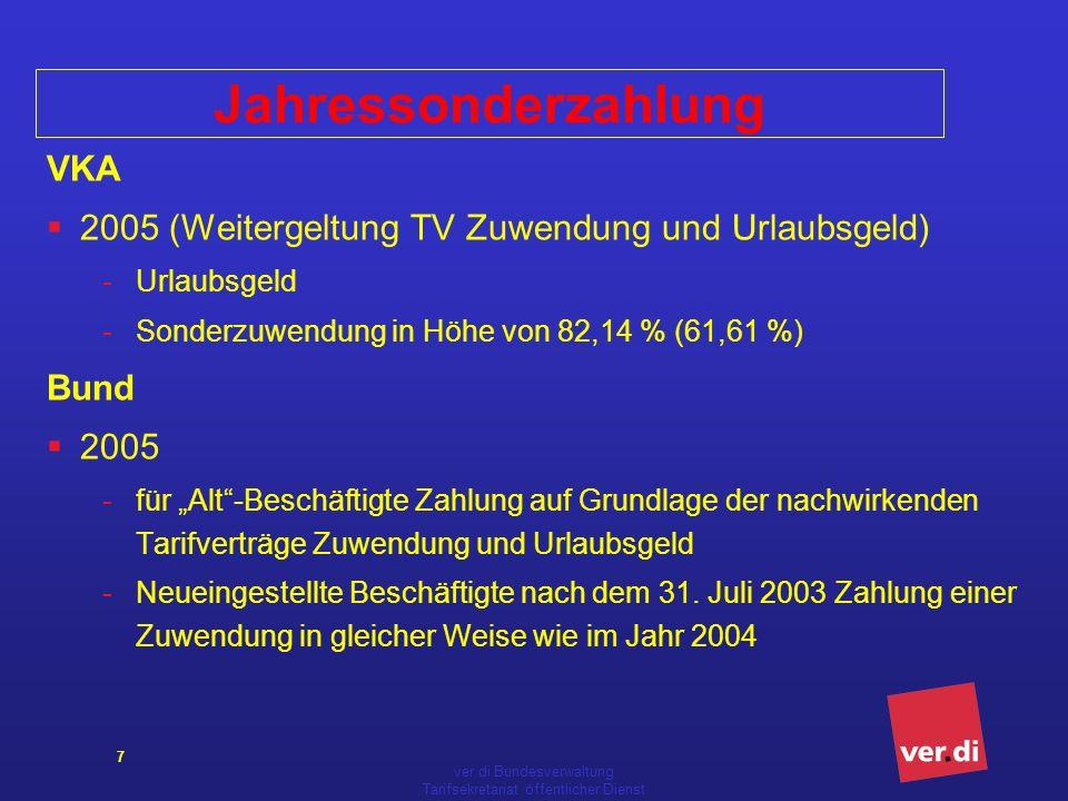 ver.di Bundesverwaltung Tarifsekretariat öffentlicher Dienst 7 Jahressonderzahlung VKA 2005 (Weitergeltung TV Zuwendung und Urlaubsgeld) -Urlaubsgeld