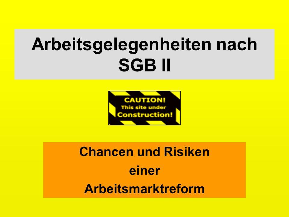 Arbeitsgelegenheiten nach SGB II Chancen und Risiken einer Arbeitsmarktreform