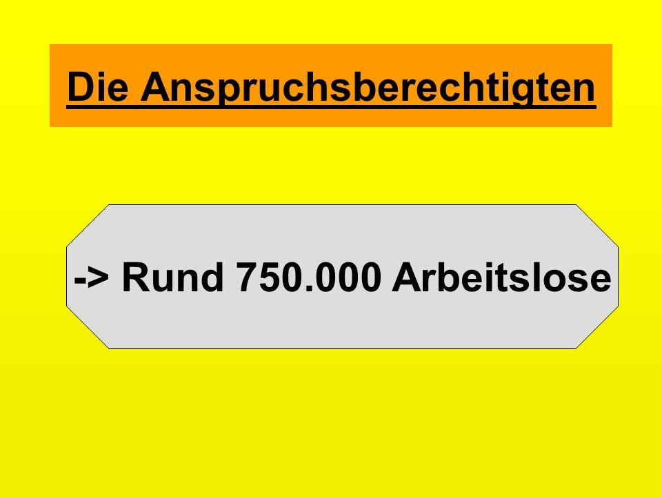 Die Anspruchsberechtigten -> Rund 750.000 Arbeitslose