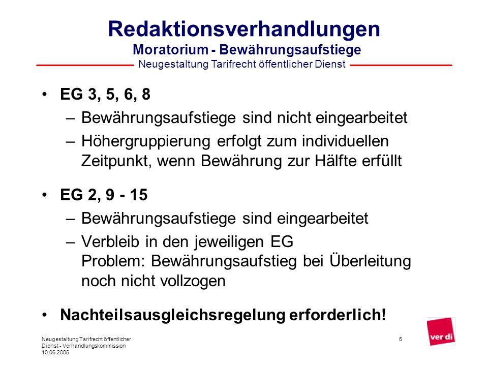 Neugestaltung Tarifrecht öffentlicher Dienst Neugestaltung Tarifrecht öffentlicher Dienst - Verhandlungskommission 10.06.2006 16 Redaktionsverhandlungen Weiteres Vorgehen Weitere Redaktionstermine vereinbart: 14.06.