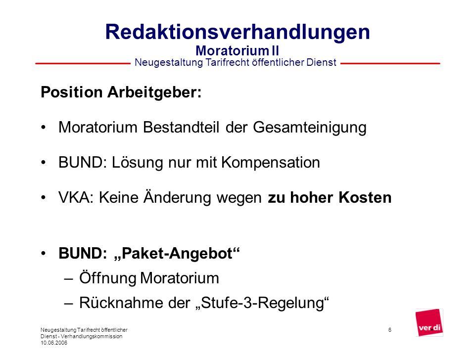 Neugestaltung Tarifrecht öffentlicher Dienst Neugestaltung Tarifrecht öffentlicher Dienst - Verhandlungskommission 10.06.2006 7 Redaktionsverhandlungen Moratorium III Entscheidung Lenkungsgruppe am 31.5.