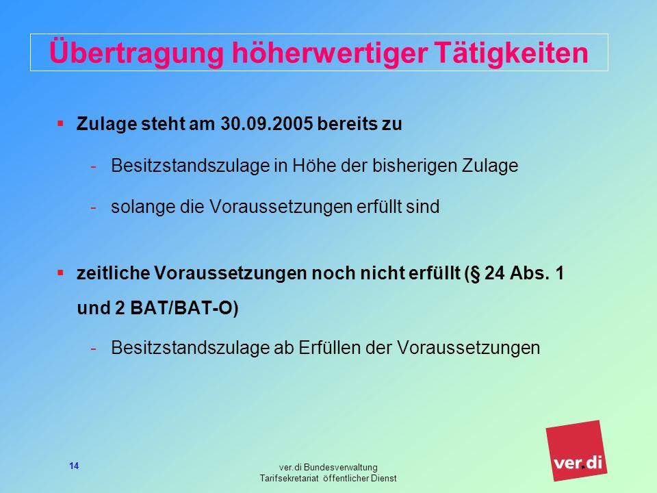 ver.di Bundesverwaltung Tarifsekretariat öffentlicher Dienst 14 Übertragung höherwertiger Tätigkeiten Zulage steht am 30.09.2005 bereits zu -Besitzstandszulage in Höhe der bisherigen Zulage -solange die Voraussetzungen erfüllt sind zeitliche Voraussetzungen noch nicht erfüllt (§ 24 Abs.