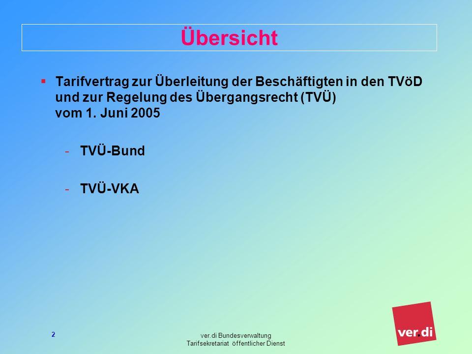 ver.di Bundesverwaltung Tarifsekretariat öffentlicher Dienst 2 Übersicht Tarifvertrag zur Überleitung der Beschäftigten in den TVöD und zur Regelung des Übergangsrecht (TVÜ) vom 1.