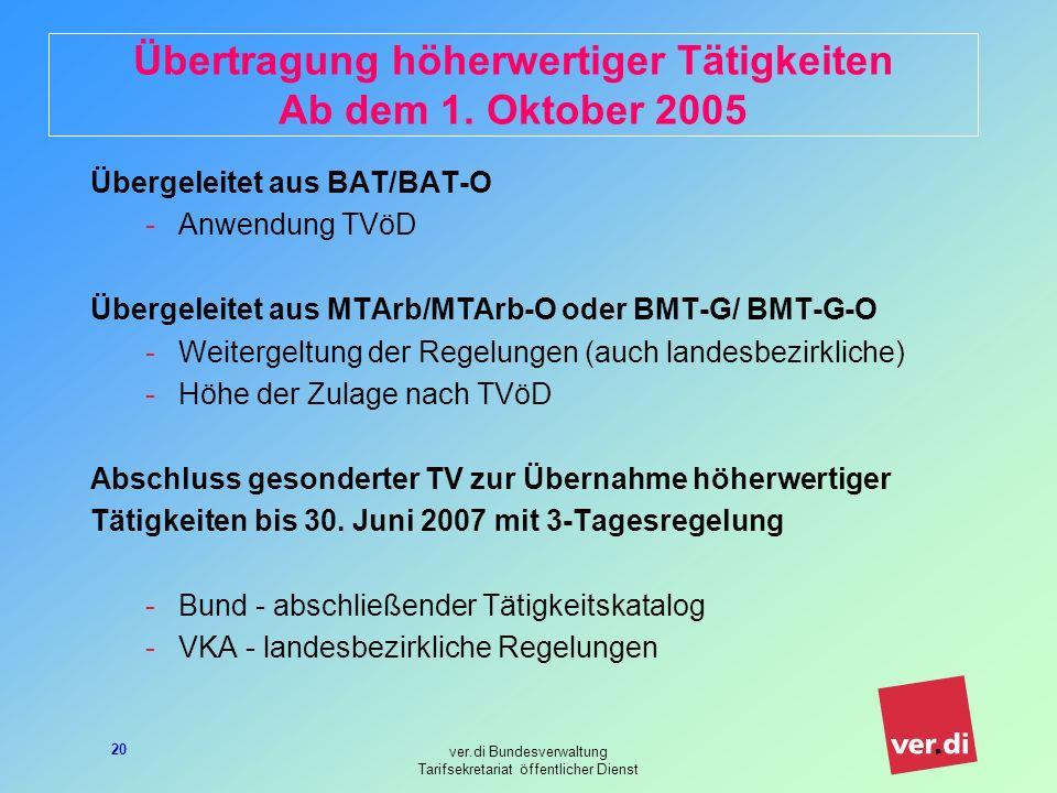 ver.di Bundesverwaltung Tarifsekretariat öffentlicher Dienst 20 Übertragung höherwertiger Tätigkeiten Ab dem 1. Oktober 2005 Übergeleitet aus BAT/BAT-