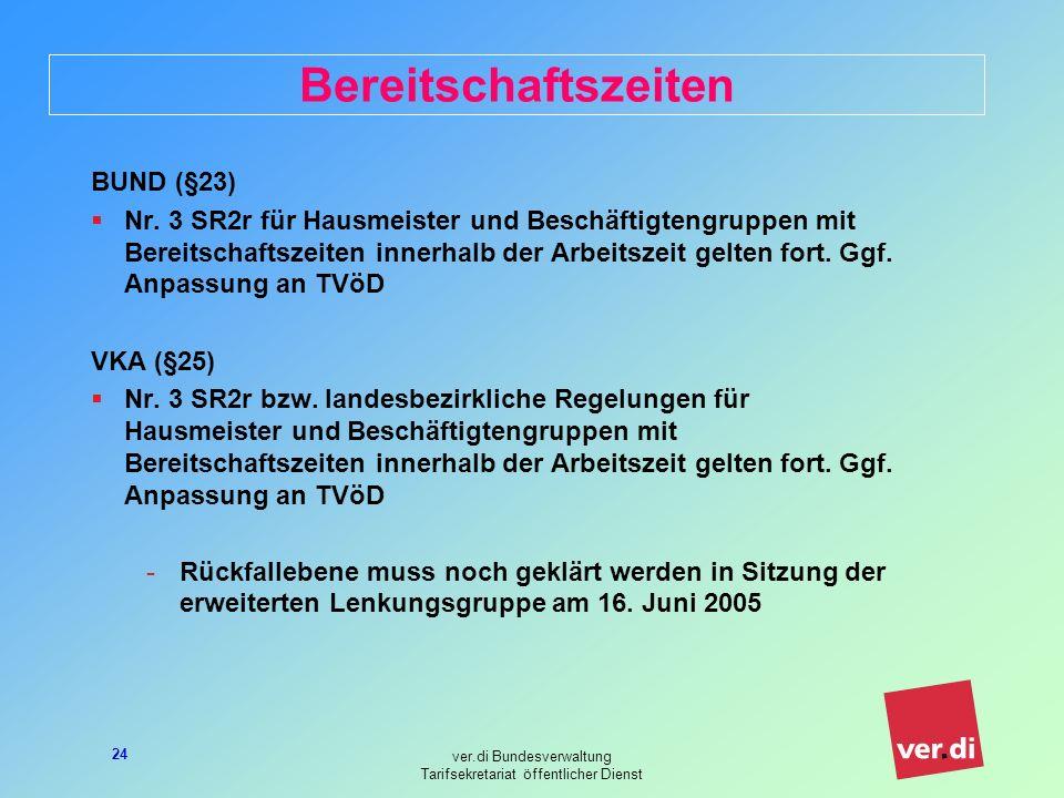 ver.di Bundesverwaltung Tarifsekretariat öffentlicher Dienst 24 Bereitschaftszeiten BUND (§23) Nr.