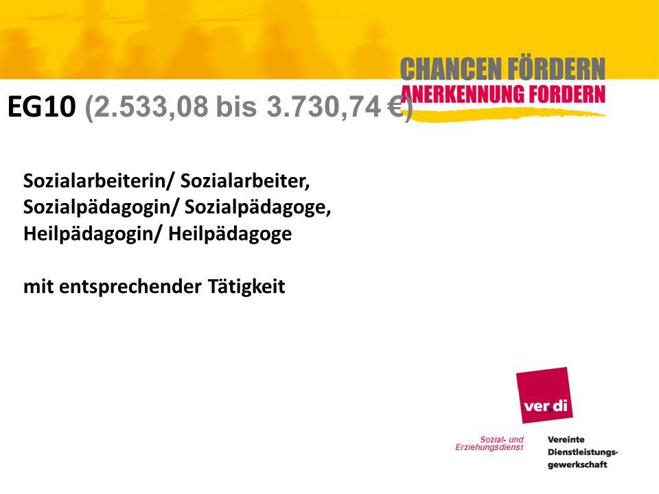 Sozial- und Erziehungsdienst EG10 (2.533,08 bis 3.730,74 ) Sozialarbeiterin/ Sozialarbeiter, Sozialpädagogin/ Sozialpädagoge, Heilpädagogin/ Heilpädag
