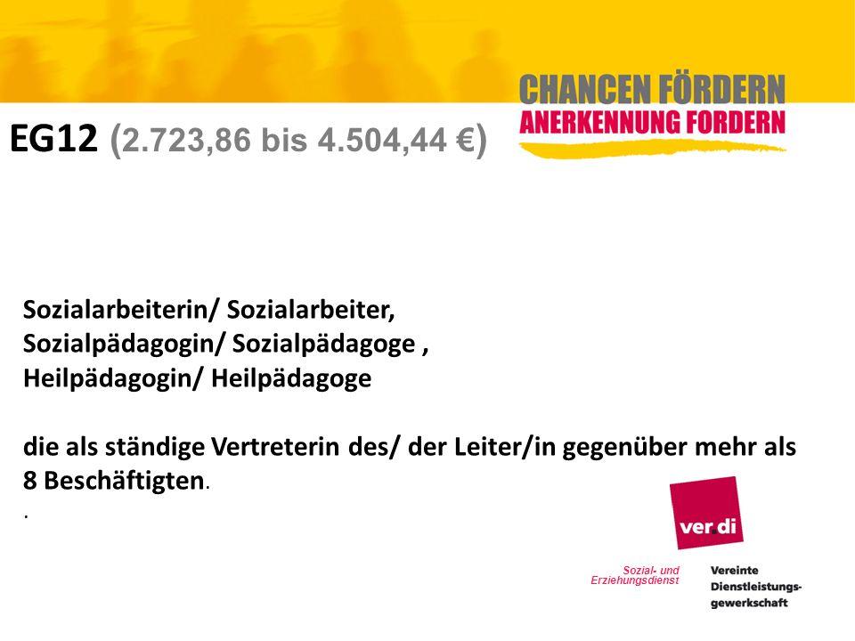 Sozial- und Erziehungsdienst EG12 ( 2.723,86 bis 4.504,44 ) Sozialarbeiterin/ Sozialarbeiter, Sozialpädagogin/ Sozialpädagoge, Heilpädagogin/ Heilpäda