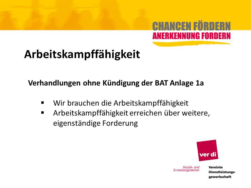 Arbeitskampffähigkeit Verhandlungen ohne Kündigung der BAT Anlage 1a Wir brauchen die Arbeitskampffähigkeit Arbeitskampffähigkeit erreichen über weite