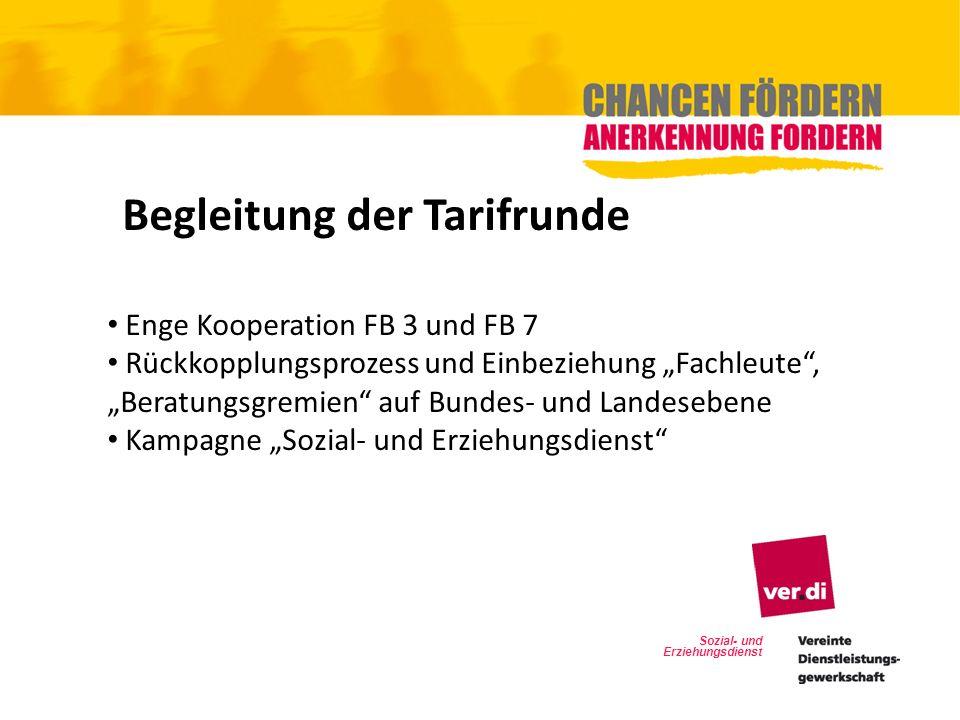 Sozial- und Erziehungsdienst Begleitung der Tarifrunde Enge Kooperation FB 3 und FB 7 Rückkopplungsprozess und Einbeziehung Fachleute, Beratungsgremie