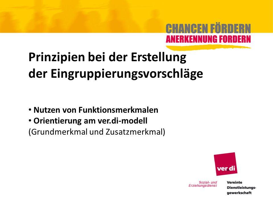 Sozial- und Erziehungsdienst Prinzipien bei der Erstellung der Eingruppierungsvorschläge Nutzen von Funktionsmerkmalen Orientierung am ver.di-modell (