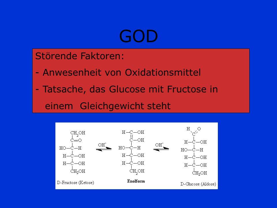 GOD Störende Faktoren: - Anwesenheit von Oxidationsmittel - Tatsache, das Glucose mit Fructose in einem Gleichgewicht steht