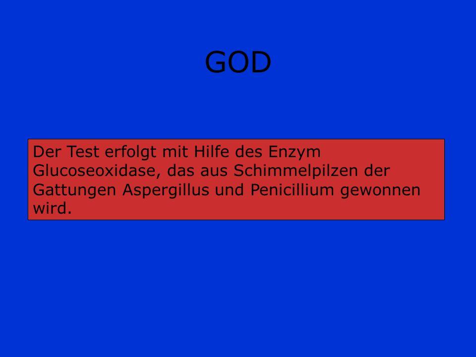 GOD Die Glucoseoxidase, eine Dehydrogenase, ist ein Protein mit Flavin-adenin-dinucleotid (FAD) als prosthetischer Gruppe.