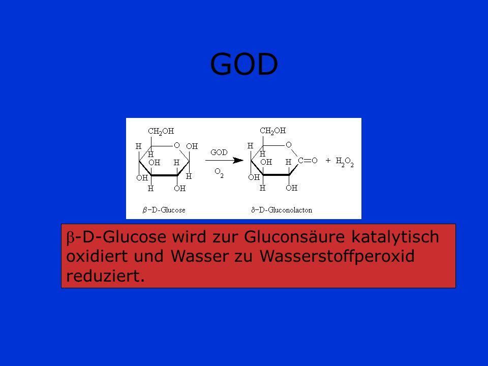 GOD Da H 2 O 2 farblos ist, befindet sich auf dem gelb grundierten Teststäbchen der Indikator o- Toluidin(2-Aminotoluol 2-Methylanilin), der zu einem blauen Farbstoff oxidiert wird.