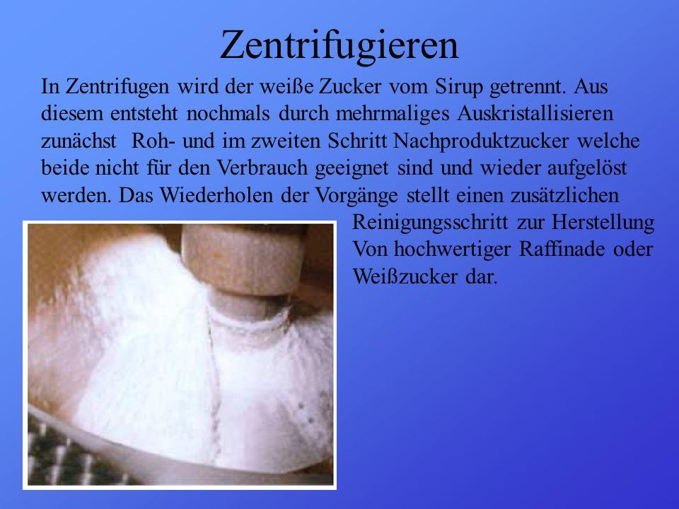 Zentrifugieren In Zentrifugen wird der weiße Zucker vom Sirup getrennt. Aus diesem entsteht nochmals durch mehrmaliges Auskristallisieren zunächst Roh