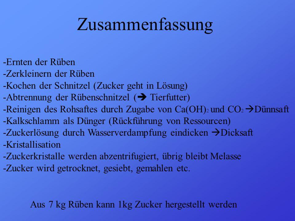 Zusammenfassung -Ernten der Rüben -Zerkleinern der Rüben -Kochen der Schnitzel (Zucker geht in Lösung) -Abtrennung der Rübenschnitzel ( Tierfutter) -R