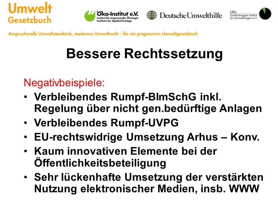 Bessere Rechtssetzung Negativbeispiele: Verbleibendes Rumpf-BImSchG inkl.