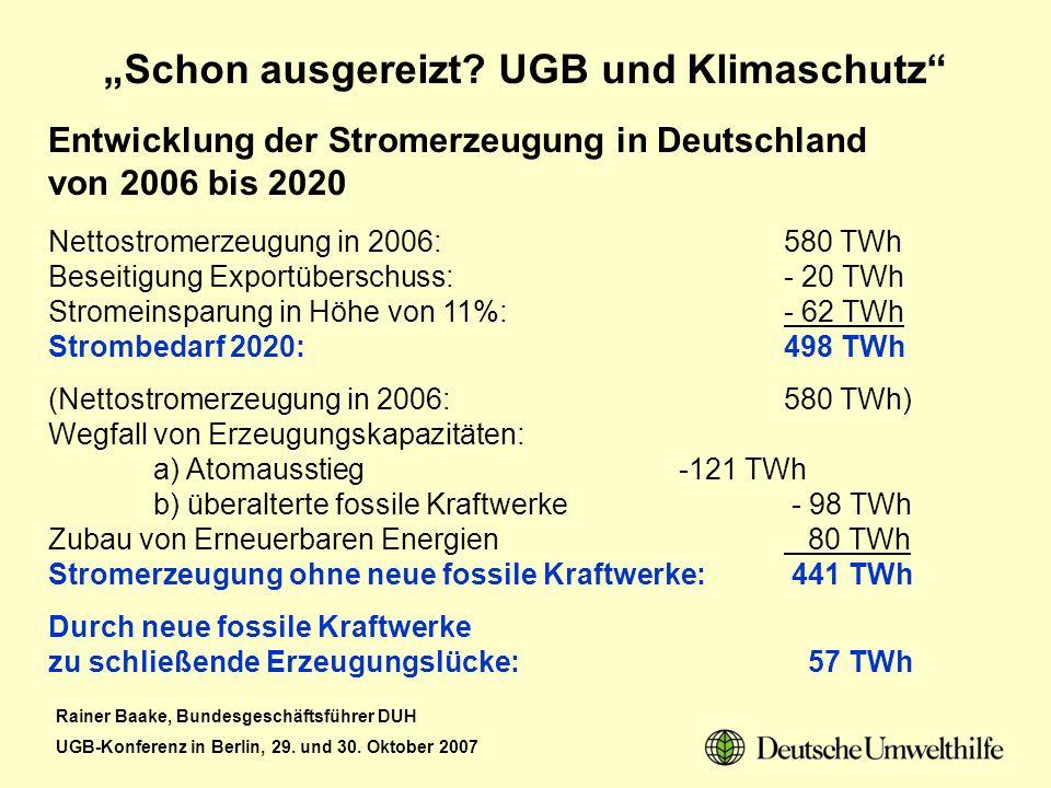 Rainer Baake, Bundesgeschäftsführer DUH UGB-Konferenz in Berlin, 29. und 30. Oktober 2007 Schon ausgereizt? UGB und Klimaschutz Entwicklung der Strome