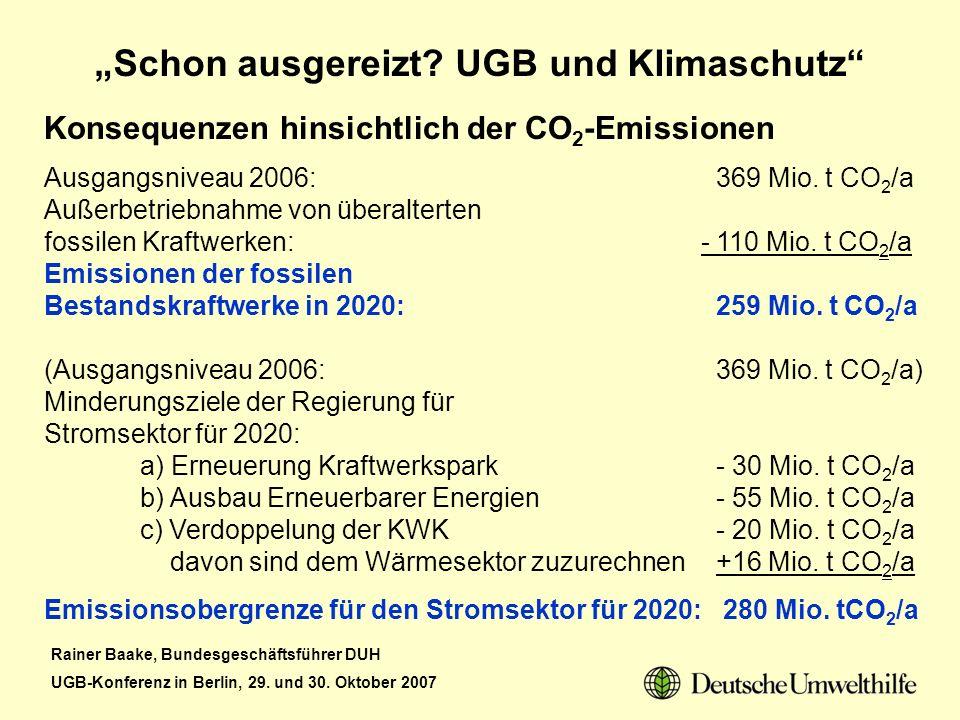Rainer Baake, Bundesgeschäftsführer DUH UGB-Konferenz in Berlin, 29. und 30. Oktober 2007 Schon ausgereizt? UGB und Klimaschutz Konsequenzen hinsichtl