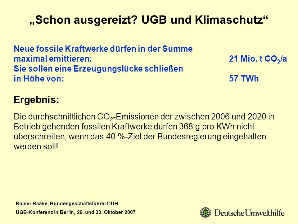 Rainer Baake, Bundesgeschäftsführer DUH UGB-Konferenz in Berlin, 29. und 30. Oktober 2007 Schon ausgereizt? UGB und Klimaschutz Neue fossile Kraftwerk