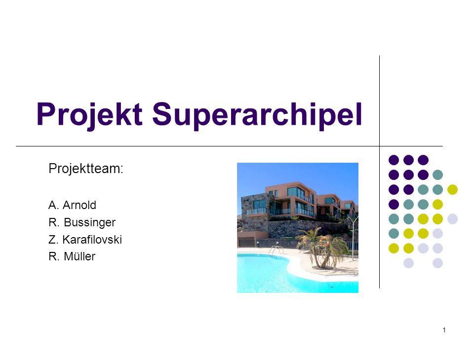 1 Projekt Superarchipel Projektteam: A. Arnold R. Bussinger Z. Karafilovski R. Müller