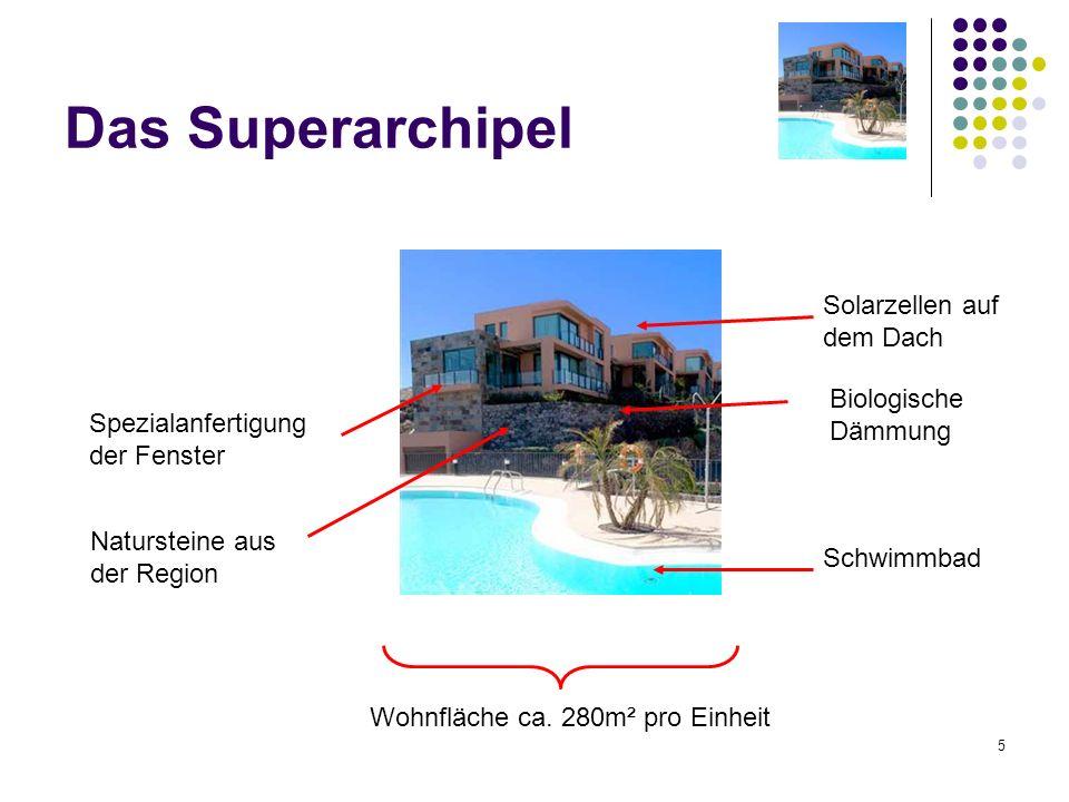 5 Das Superarchipel Solarzellen auf dem Dach Biologische Dämmung Schwimmbad Natursteine aus der Region Spezialanfertigung der Fenster Wohnfläche ca. 2