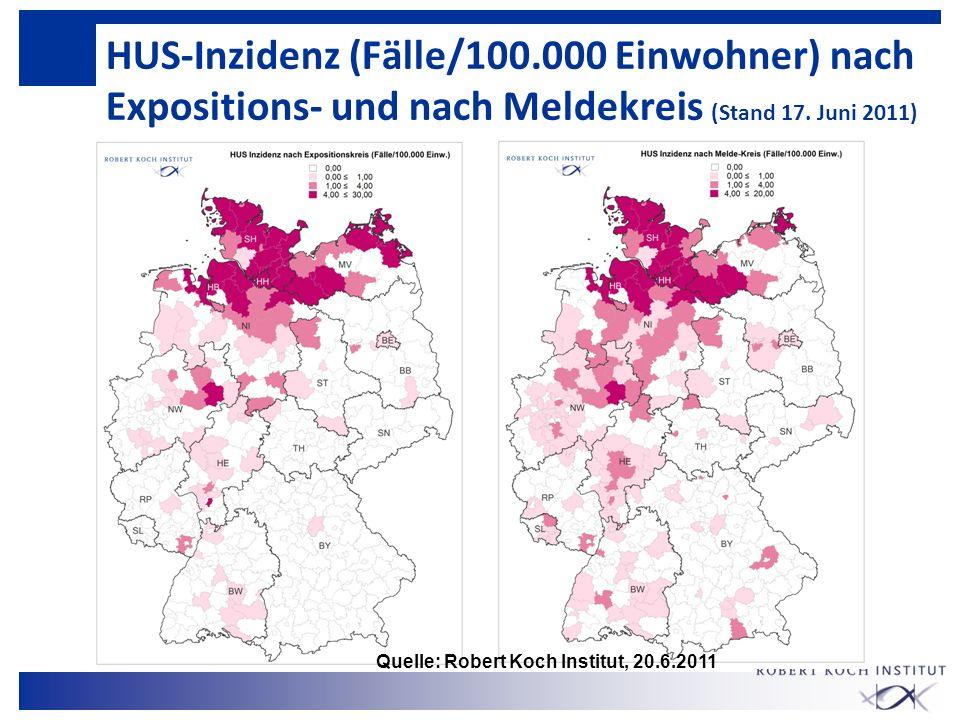 HUS-Inzidenz (Fälle/100.000 Einwohner) nach Expositions- und nach Meldekreis (Stand 17. Juni 2011) Quelle: Robert Koch Institut, 20.6.2011