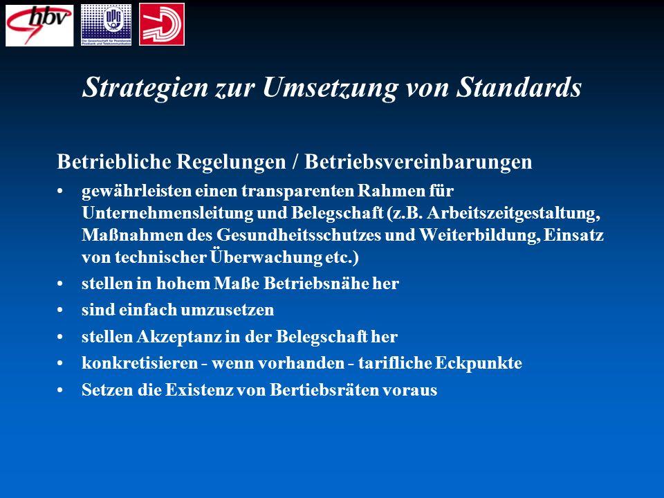 Strategien zur Umsetzung von Standards Betriebliche Regelungen / Betriebsvereinbarungen gewährleisten einen transparenten Rahmen für Unternehmensleitu