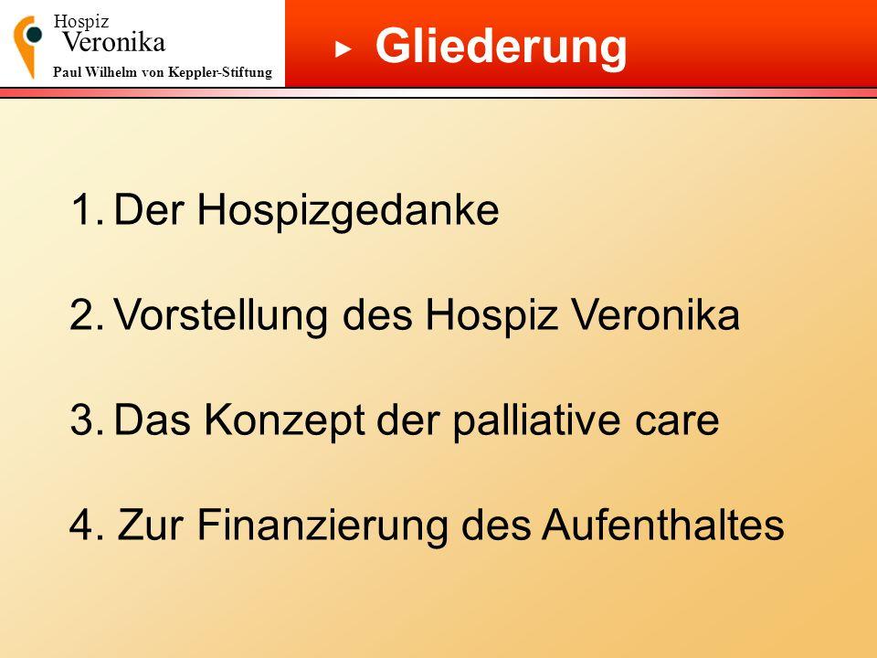 Hospiz Veronika Paul Wilhelm von Keppler-Stiftung Gliederung 1.Der Hospizgedanke 2.Vorstellung des Hospiz Veronika 3.Das Konzept der palliative care 4
