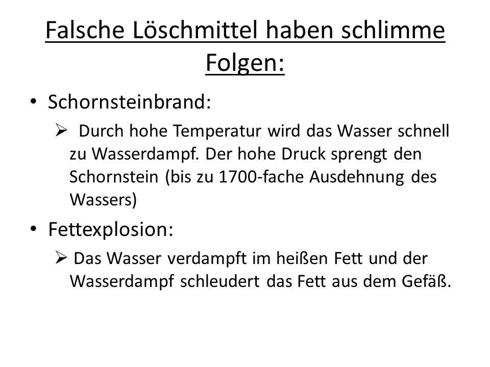 Falsche Löschmittel haben schlimme Folgen: Schornsteinbrand: Durch hohe Temperatur wird das Wasser schnell zu Wasserdampf. Der hohe Druck sprengt den