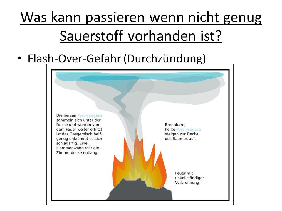 Was kann passieren wenn nicht genug Sauerstoff vorhanden ist? Flash-Over-Gefahr (Durchzündung)