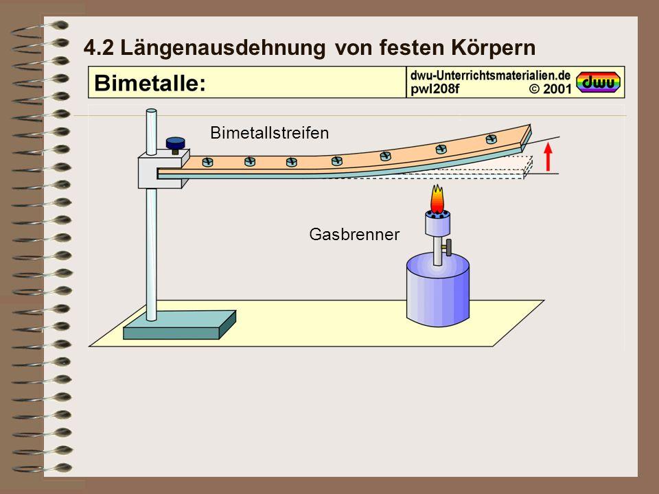 4.2 Längenausdehnung von festen Körpern Bimetallstreifen Gasbrenner