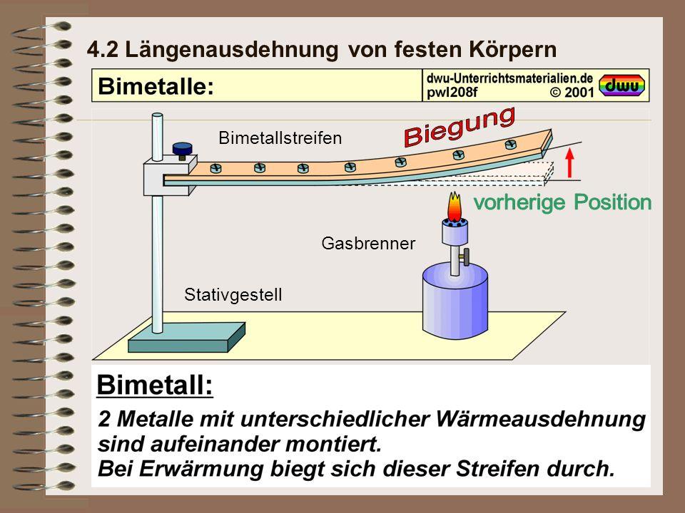 4.2 Längenausdehnung von festen Körpern Bimetallstreifen Stativgestell Gasbrenner